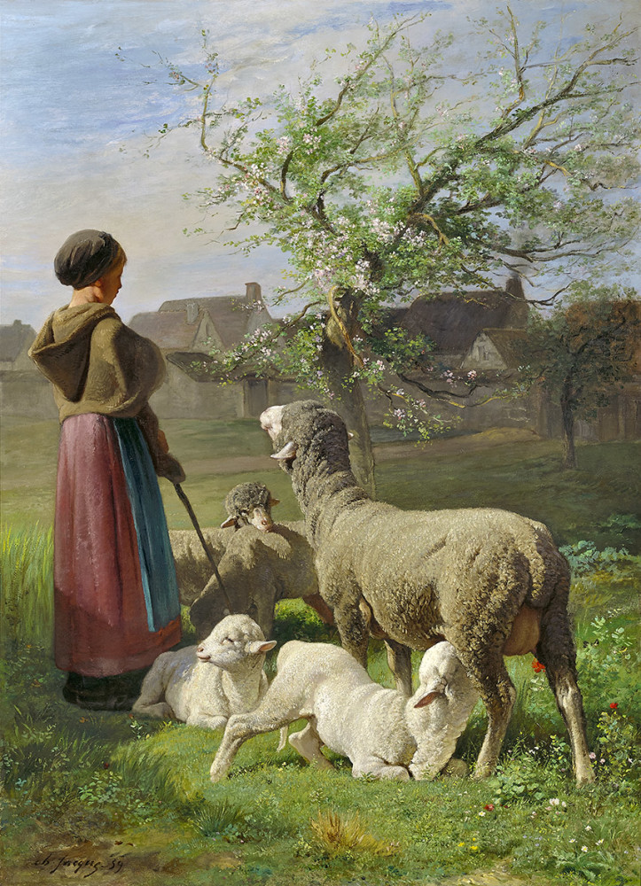 Oil painting portraits nice young girl shepherdess with sheep tree in landscape