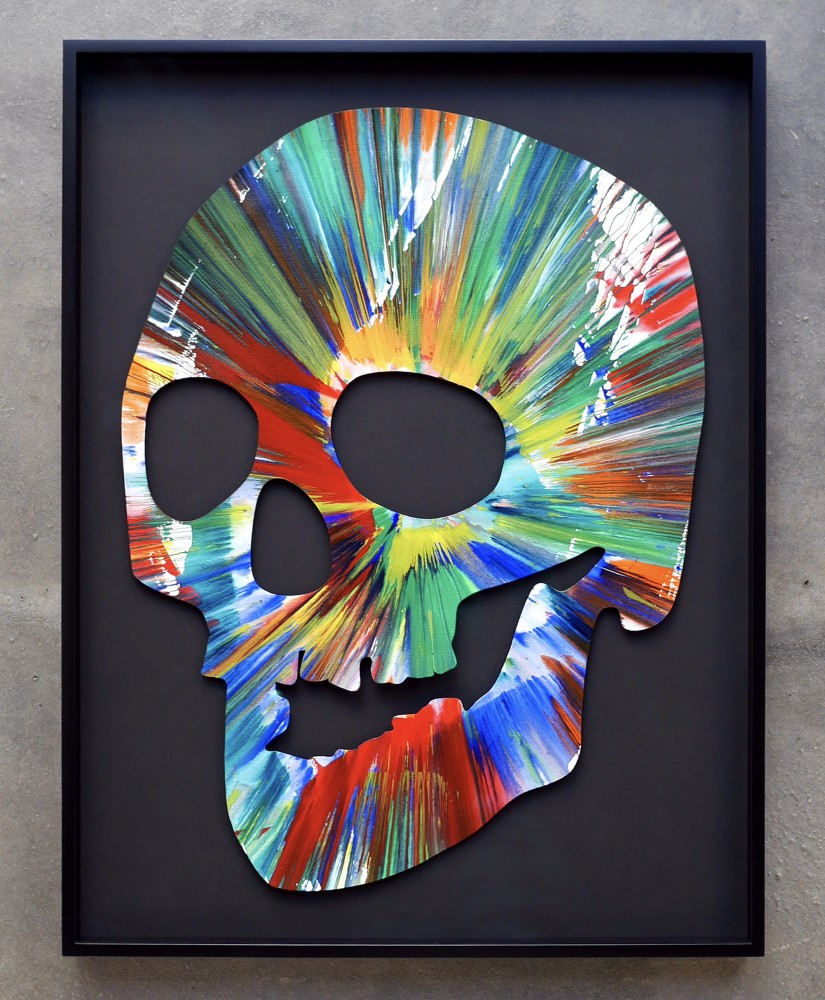 Damien Hirst Skull Spin Painting Hand Signed In Black Marker Original Painting Sold 2009 Joseph Fine Art