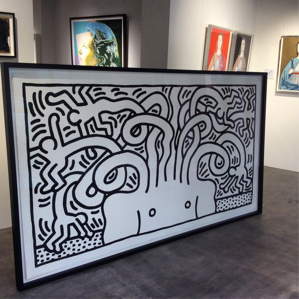 """<span class=""""link fancybox-details-link""""><a href=""""/artists/30-keith-haring/works/989/"""">View Detail Page</a></span><div class=""""artist""""><strong>Keith Haring</strong></div> <div class=""""title""""><em>Medusa Head *SOLD*</em>, 1986</div> <div class=""""signed_and_dated"""">Aquatint on paper, signed, numbered and dated in pencil by the artist, from the edition of only 24 - this work is truly the envy of any collector!</div> <div class=""""medium"""">Stunning huge work acquired and sold to a private collector, this was just to beautiful to not share a photo...We buy and sell privately so please ask if you need our help to start or build your collection.  Kind of like a private art shopper!</div> <div class=""""dimensions"""">137.2 x 248.3 cm<br /> 54 x 97 3/4 in</div> <div class=""""edition_details"""">Edition of 24</div>"""