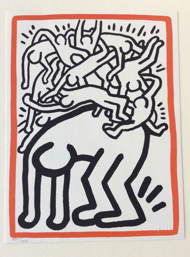"""<span class=""""link fancybox-details-link""""><a href=""""/artists/30-keith-haring/works/909/"""">View Detail Page</a></span><div class=""""artist""""><strong>Keith Haring</strong></div> <div class=""""title""""><em>Fight AIDS Worldwide</em>, 1990</div> <div class=""""signed_and_dated"""">The edition has a stamped Certificate of Authenticity on the reverse and is hand signed, numbered and dated by the Estate of Keith Haring<br /> <br /> Referenced in the Editions of Keith Haring 1982-1990, Cantz pages <br /> 168-169<br /> <br /> This work is offered framed and is in as-new condition<br />  <br /> A great value for one of the last works created by Keith before he passed away in February 1990 from an AIDS related illness.</div> <div class=""""medium"""">Lithograph on 100% pure rag Arches paper </div> <div class=""""dimensions"""">27.9 x 21.6 cm<br /> 11 x 8 1/2 in</div> <div class=""""edition_details"""">Edition of 1000</div>"""