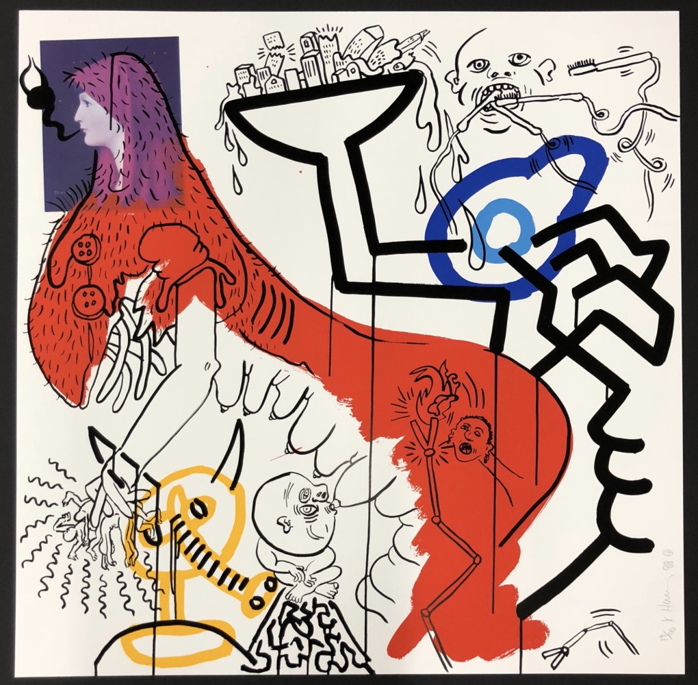 """<span class=""""link fancybox-details-link""""><a href=""""/artists/30-keith-haring/works/864/"""">View Detail Page</a></span><div class=""""artist""""><strong>Keith Haring</strong></div> <div class=""""title""""><em>Apocalypse No. 4</em>, 1988</div> <div class=""""signed_and_dated"""">Screen print on wove paper, signed, numbered and dated in pencil.<br /> <br /> Framed, on display and available to view at Joseph Fine Art, LONDON</div> <div class=""""dimensions"""">96.5 x 96.5 cm<br /> 38 x 38 in</div> <div class=""""edition_details"""">Edition of 90</div>"""