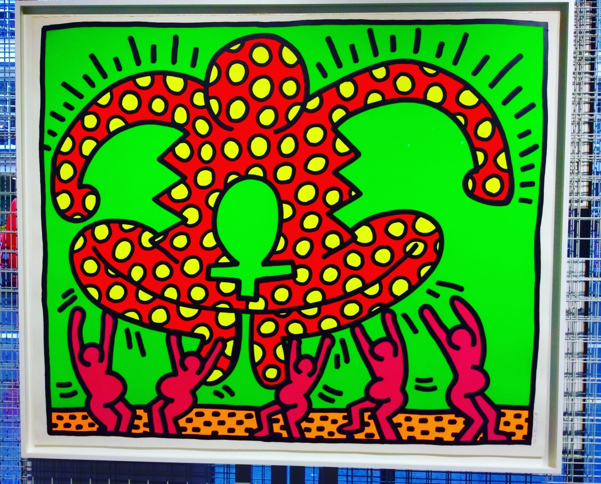 """<span class=""""link fancybox-details-link""""><a href=""""/artists/30-keith-haring/works/995/"""">View Detail Page</a></span><div class=""""artist""""><strong>Keith Haring</strong></div> <div class=""""title""""><em>Fertility Number 4</em>, 1983</div> <div class=""""signed_and_dated"""">An early and colourful ICON but aren't all of his works iconic?<br /> If you deserve a Keith Haring then this one is a wonderful fun work you can enjoy in your home-guaranteed to make you smile for many years to come. </div> <div class=""""medium"""">Silkscreen on paper, hand signed, dated and numbered by the artist from the edition of 100 plus proofs.<br /> Referenced as CANTZ pg 33 this work has vibrant and strong colours and the work is in perfect condition framed to a museum standard </div> <div class=""""dimensions"""">106 x 127 cm<br /> 41 3/4 x 50 in</div> <div class=""""edition_details"""">Edition of 100</div>"""