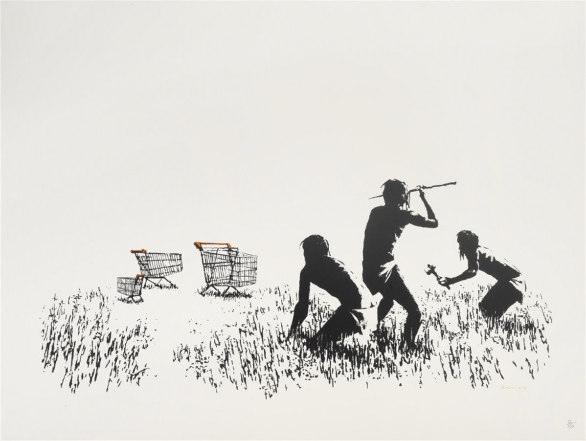 "<span class=""link fancybox-details-link""><a href=""/artists/27-banksy/works/826/"">View Detail Page</a></span><div class=""artist""><strong>Banksy</strong></div> <div class=""title""><em>Trolley Hunters (Black and White) *SOLD*</em>, 2007</div> <div class=""medium"">Screenprint, signed, numbered and dated in pencil. POW blind stamp.<br /> <br /> COA from Pest Control</div> <div class=""dimensions"">56cm x 76cm</div> <div class=""edition_details"">Edition of 150</div>"
