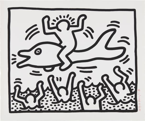 """<span class=""""link fancybox-details-link""""><a href=""""/artists/30-keith-haring/works/671/"""">View Detail Page</a></span><div class=""""artist""""><strong>Keith Haring</strong></div> <div class=""""title""""><em>Untitled (Man on Dolphin)  NEW IN STOCK </em>, 1987</div> <div class=""""signed_and_dated"""">Hand signed, numbered and dated in red crayon from the regular edition of 170 works, offered in as-new condition <br /> <br /> Documented in the Editions on paper catalogue of Keith Haring, CANTZ, page 84</div> <div class=""""medium"""">Lithograph on wove paper</div> <div class=""""dimensions"""">75 x 90 cm (29 1/2 x 35 3/8 in)</div> <div class=""""edition_details""""></div>"""