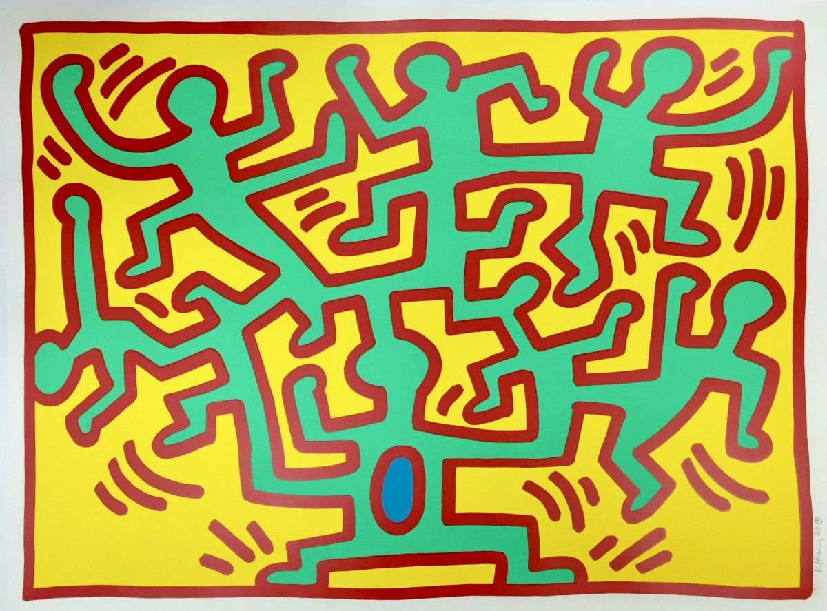 """<span class=""""link fancybox-details-link""""><a href=""""/artists/30-keith-haring/works/95/"""">View Detail Page</a></span><div class=""""artist""""><strong>Keith Haring</strong></div> <div class=""""title""""><em>Growing Suite (No. 2) *SOLD*</em>, 1988</div> <div class=""""signed_and_dated"""">Signed and dated in pencil, bottom right</div> <div class=""""medium"""">Screen print on paper</div> <div class=""""dimensions"""">76.2 x 101.6 cm (30 x 40 in)</div> <div class=""""edition_details"""">Edition of 100</div>"""