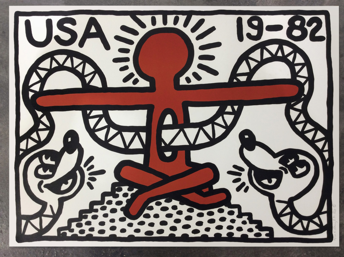 """<span class=""""link fancybox-details-link""""><a href=""""/artists/30-keith-haring/works/928/"""">View Detail Page</a></span><div class=""""artist""""><strong>Keith Haring</strong></div> <div class=""""title""""><em>Untitled, 1982 *SOLD*</em></div> <div class=""""signed_and_dated"""">Referenced in CANTZ pp 16&17</div> <div class=""""medium"""">Lithograph on paper, hand signed, dated and numbered in pencil from the very rare edition of 50.  This print is documented in the catalogue raisonné as the first print created by Keith Haring in 1982. Rarer still, the artist has added a hand drawn 'radiant baby' alongside his signature making this a unique work.</div> <div class=""""dimensions"""">55.9 x 76.2 cm<br /> 22 x 30 in</div>"""