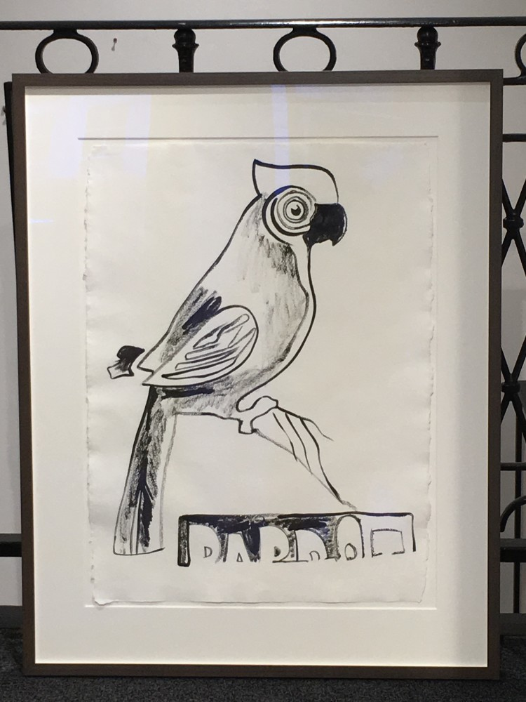 """<span class=""""link fancybox-details-link""""><a href=""""/artists/25-andy-warhol/works/841/"""">View Detail Page</a></span><div class=""""artist""""><strong>Andy Warhol</strong></div> <div class=""""title""""><em>Parrot with Crest (UNIQUE DRAWING) *SOLD*</em>, 1983</div> <div class=""""medium"""">Graphite on HMP paper, certified by the Estate of Andy Warhol and the Andy Warhol Foundation for the Visual Arts.</div> <div class=""""dimensions"""">80.6 x 60.3 cm<br /> 31 3/4 x 23 3/4 in</div>"""