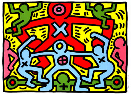 """<span class=""""link fancybox-details-link""""><a href=""""/artists/30-keith-haring/works/889/"""">View Detail Page</a></span><div class=""""artist""""><strong>Keith Haring</strong></div> <div class=""""title""""><em>Untitled *SOLD*</em>, 1985</div> <div class=""""signed_and_dated"""">Hand signed, dated and numbered in pencil by the artist on the front, lower right margin, documented Cantz p.50 </div> <div class=""""medium"""">silk screen on paper, this work is in pristine condition bright colours really one of the best but aren't they all really great!?!?!</div> <div class=""""dimensions"""">60 x 80 cm<br /> 23 5/8 x 31 1/2 in</div> <div class=""""edition_details"""">Edition of 150</div>"""