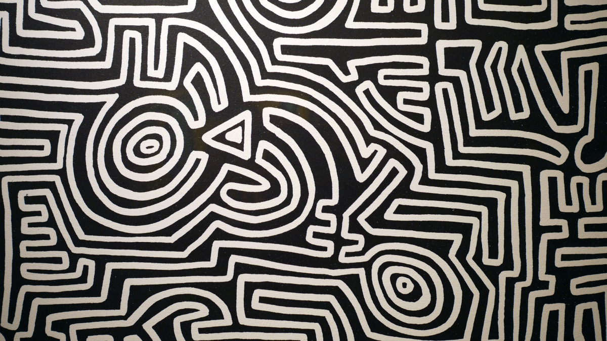 """<span class=""""link fancybox-details-link""""><a href=""""/artists/30-keith-haring/works/838/"""">View Detail Page</a></span><div class=""""artist""""><strong>Keith Haring</strong></div> <div class=""""title""""><em>The Labyrinth</em>, 1989</div> <div class=""""signed_and_dated"""">Documented as Cantz p.113, framed in a black powder coated steel frame with UV museum acrylic </div> <div class=""""medium"""">Lithograph, hand signed, numbered and dated in red crayon lower right margin </div> <div class=""""dimensions"""">105.4 x 74.9 cm<br /> 41 1/2 x 29 1/2 in</div> <div class=""""edition_details"""">RARE Edition of 25</div>"""