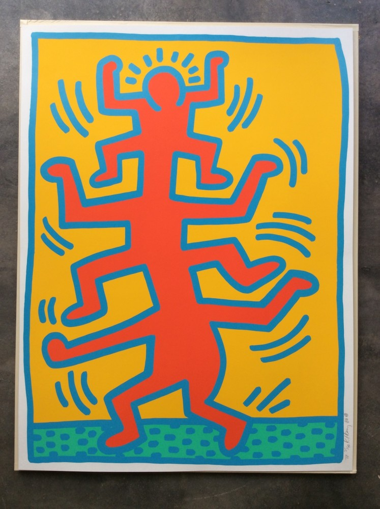 """<span class=""""link fancybox-details-link""""><a href=""""/artists/30-keith-haring/works/1037/"""">View Detail Page</a></span><div class=""""artist""""><strong>Keith Haring</strong></div> <div class=""""title""""><em>Growing Number 1 unique Trial Proof *SOLD*</em>, 1988</div> <div class=""""signed_and_dated"""">While the edition consisted of 100 plus a small number of Artist Proofs, the Trial Proof edition consists of 40 works, each one unique.<br /> Growing Number 1 is the most sought after print from the edition and with the added value of being unique, this work is quite THE PRIZE.<br /> There has never been a Growing 1 Trial Proof in an auction and a sale of Growing Number 5 late last year realised a sales price in excess of $100,000 making this particular work an especially rare acquisition and because JFA have it, it is a great buy too!  Call us for more details or stop in and see it in person.</div> <div class=""""medium"""">Trial Proof, Screen print in unique colours edition of 40, hand signed, dated and numbered in pencil on Lenox Museum Board <br /> The blue border in this work has a pearlescent appearance in contrast to the soft gold and reddish colours with a mint green base border.  We've never seen any other work with the blue border!<br /> <br /> Referenced in the Keith Haring Editions on paper, CANTZ pp 88-89</div> <div class=""""dimensions"""">76 x 101.5 cm<br /> 29 7/8 x 40 in</div>"""