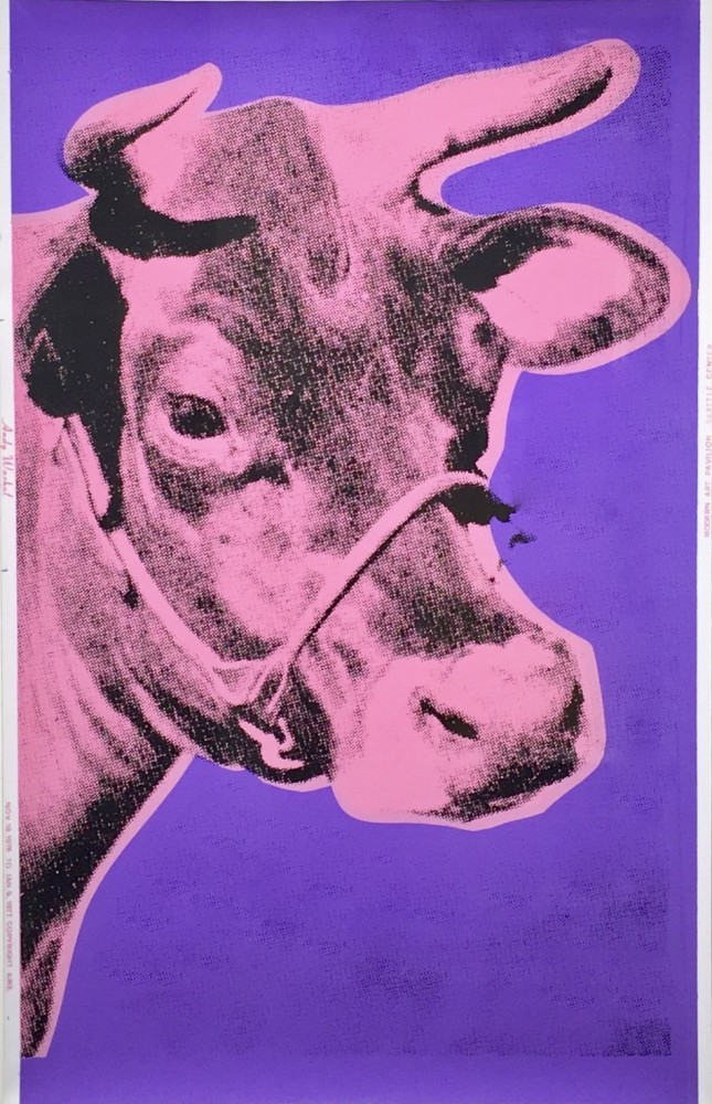 """<span class=""""link fancybox-details-link""""><a href=""""/artists/25-andy-warhol/works/289/"""">View Detail Page</a></span><div class=""""artist""""><strong>Andy Warhol</strong></div> <div class=""""title""""><em>Cow</em>, 1976</div> <div class=""""signed_and_dated"""">Signed and authenticated verso in pencil with the stamps of the Warhol Foundation and the Estate of Andy Warhol<br /> </div> <div class=""""medium"""">Screen print on wall paper</div> <div class=""""dimensions"""">115.6 x 75.6 cm (45 1/2 x 29 3/4 in)<br /> Warhol Cat. Res: (F&S II.12A)</div>"""