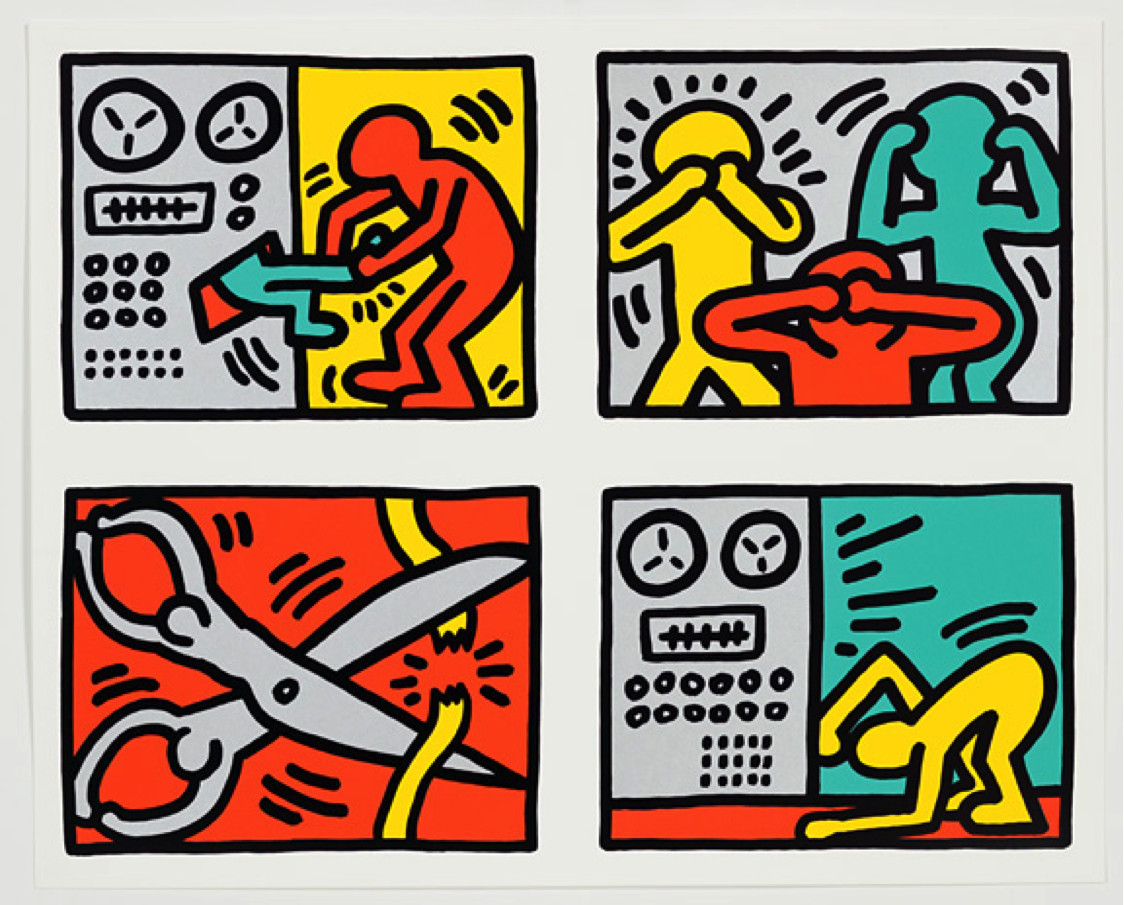 """<span class=""""link fancybox-details-link""""><a href=""""/artists/30-keith-haring/works/887/"""">View Detail Page</a></span><div class=""""artist""""><strong>Keith Haring</strong></div> <div class=""""title""""><em>POP SHOP QUAD III *SOLD*</em>, 1989</div> <div class=""""signed_and_dated"""">Signed and stamped on the reverse by the Keith Haring Estate, <br /> numbered from the rare edition of 75, documented as CANTZ 142 (a)</div> <div class=""""medium"""">Silkscreen on paper, this work is in new condition </div> <div class=""""dimensions"""">68.6 x 83.8 cm<br /> 27 x 33 in</div>"""