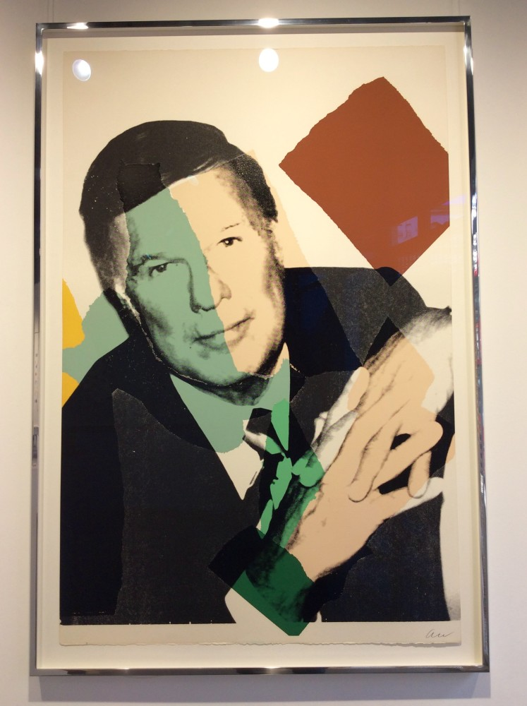 """<span class=""""link fancybox-details-link""""><a href=""""/artists/25-andy-warhol/works/878/"""">View Detail Page</a></span><div class=""""artist""""><strong>andy warhol</strong></div> <div class=""""title""""><em>Frederick Weisman *SOLD*</em>, 1975</div> <div class=""""signed_and_dated"""">Hand signed, dated '75, numbered from the edition of 10 on the reverse, signed 'AW' on the front lower right in pencil by the artist, offered in as-new condition with bright colours-a really great Warhol portrait for a great price </div> <div class=""""medium"""">Screen print on Arches Aquarelle paper<br /> Referenced in the Warhol Catalogue Raisonné on page 88, F&S II.123<br /> Published by Andy Warhol Enterprises, Inc., New York</div> <div class=""""dimensions"""">111.8 x 73 cm<br /> 44 1/8 x 28 3/4 in</div>"""