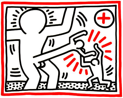 """<span class=""""link fancybox-details-link""""><a href=""""/artists/30-keith-haring/works/1007/"""">View Detail Page</a></span><div class=""""artist""""><strong>Keith Haring</strong></div> <div class=""""title""""><em>COCKFIGHT (untitled)</em>, 1985</div> <div class=""""signed_and_dated"""">Referenced in CANTZ pg 39</div> <div class=""""medium"""">Lithograph on paper from the series '3 Lithographs, 1985'.<br /> Hand signed in pencil, dated '85 and numbered from the edition of 80 works, Offered in new condition, great bright colours and a great big cockfight for your wall. Classic Keith-happy and in your face!</div> <div class=""""dimensions"""">81 x 101.5 cm<br /> 31 7/8 x 40 in</div> <div class=""""edition_details"""">Edition of 80</div>"""