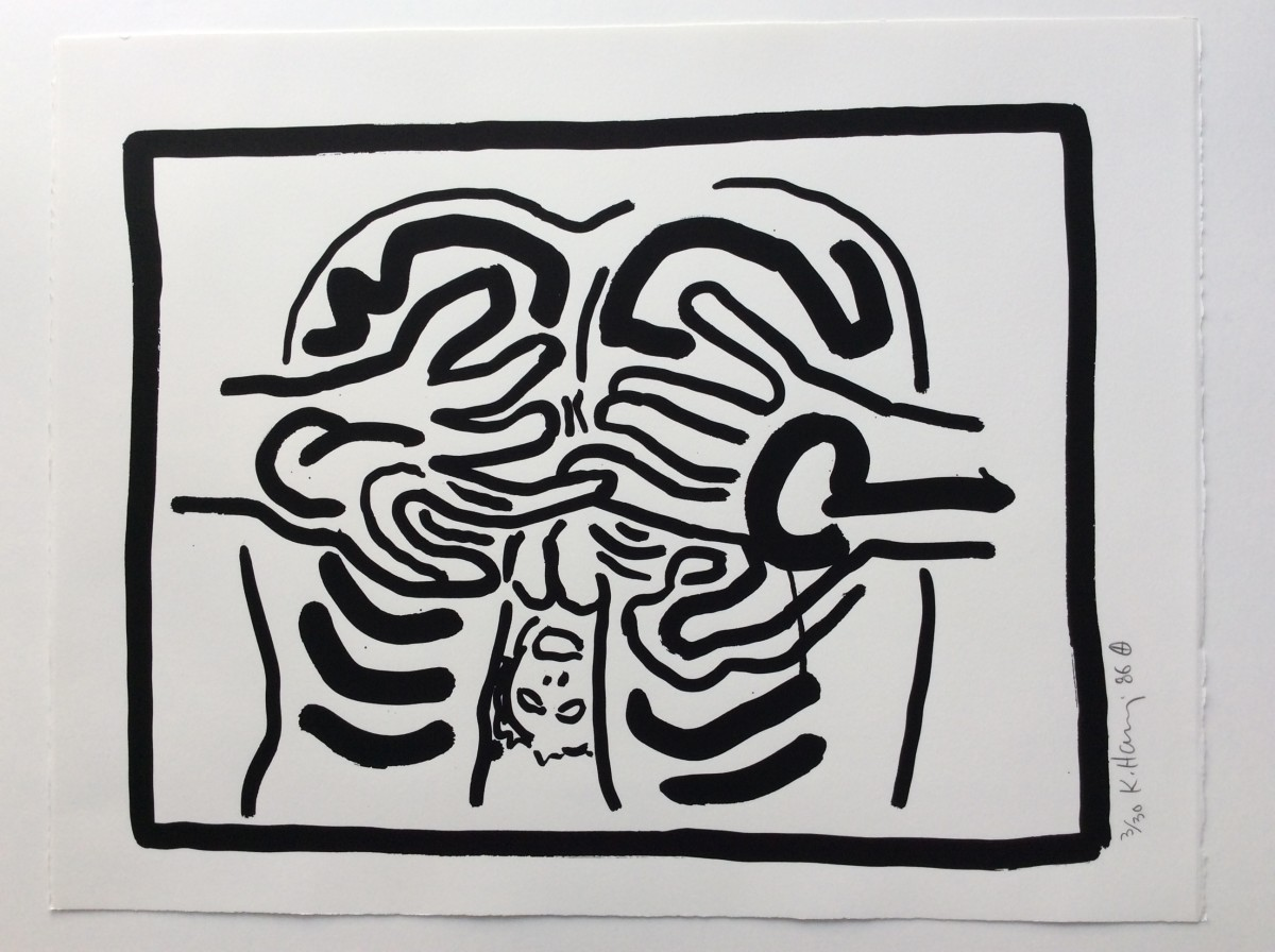 """<span class=""""link fancybox-details-link""""><a href=""""/artists/30-keith-haring/works/1010/"""">View Detail Page</a></span><div class=""""artist""""><strong>Keith Haring</strong></div> <div class=""""title""""><em>Bad Boys, Number 3, 1986</em>, 1986</div> <div class=""""medium"""">Silkscreen on Rives B.F.K. paper, please see Number 1 for more details....</div> <div class=""""edition_details"""">Edition of 30</div>"""