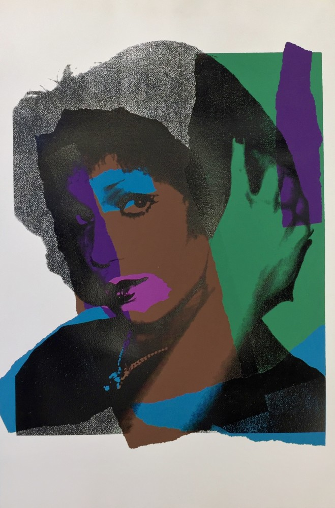 """<span class=""""link fancybox-details-link""""><a href=""""/artists/25-andy-warhol/works/657/"""">View Detail Page</a></span><div class=""""artist""""><strong>Andy Warhol</strong></div> <div class=""""title""""><em>Ladies and Gentlemen *SOLD*</em>, 1975</div> <div class=""""signed_and_dated"""">Signed and dated in pencil, verso</div> <div class=""""medium"""">Screen print on Arches paper</div> <div class=""""dimensions"""">110.5 x 72.4 cm (43 1/2 x 28 1/2 in)<br /> Warhol Cat. Res: (F&S II.132)</div> <div class=""""edition_details"""">Numbered in pencil, verso, from the Artist Proof (AP) edition of 25 (Regular edition is 250)</div>"""