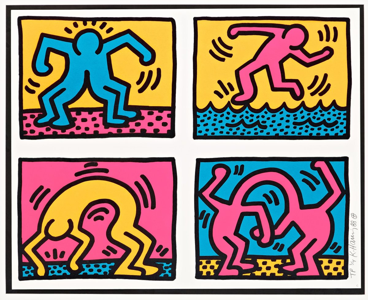 """<span class=""""link fancybox-details-link""""><a href=""""/artists/30-keith-haring/works/912/"""">View Detail Page</a></span><div class=""""artist""""><strong>Keith Haring</strong></div> <div class=""""title""""><em>Pop Shop Quad II (numbered Trial Proof) *SOLD*</em>, 1988</div> <div class=""""signed_and_dated"""">Screen print in unique fluorescent colours, signed, numbered and dated in pencil. This work is one of just four Trial Proofs, a wonderfully colourful work with strong fluorescent inks. Much brighter than the regular edition of 75, large strong signature lower right margin </div> <div class=""""dimensions"""">55.9 x 76.2 cm<br /> 22 x 30 in</div> <div class=""""edition_details"""">One of four Trial Proofs</div>"""