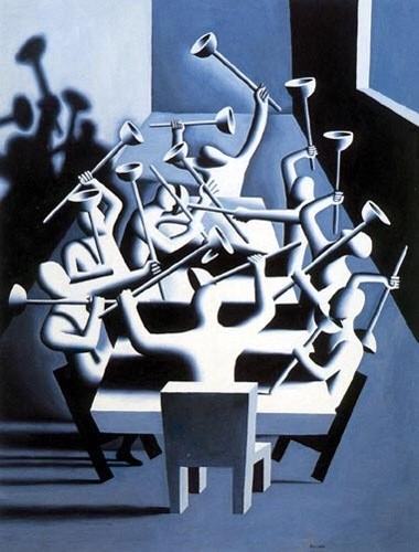 "<span class=""link fancybox-details-link""><a href=""/artists/36-mark-kostabi/works/111/"">View Detail Page</a></span><div class=""artist""><strong>Mark Kostabi</strong></div> <div class=""title""><em>Upheaval</em>, 1994</div> <div class=""medium"">Screen print on wove paper, heavily textured this work has the appearance of a painting. Hand signed, dated and numbered in pencil. Edition of 295.</div> <div class=""dimensions"">132.1 x 106.7 cm<br />52 x 42 in</div>"