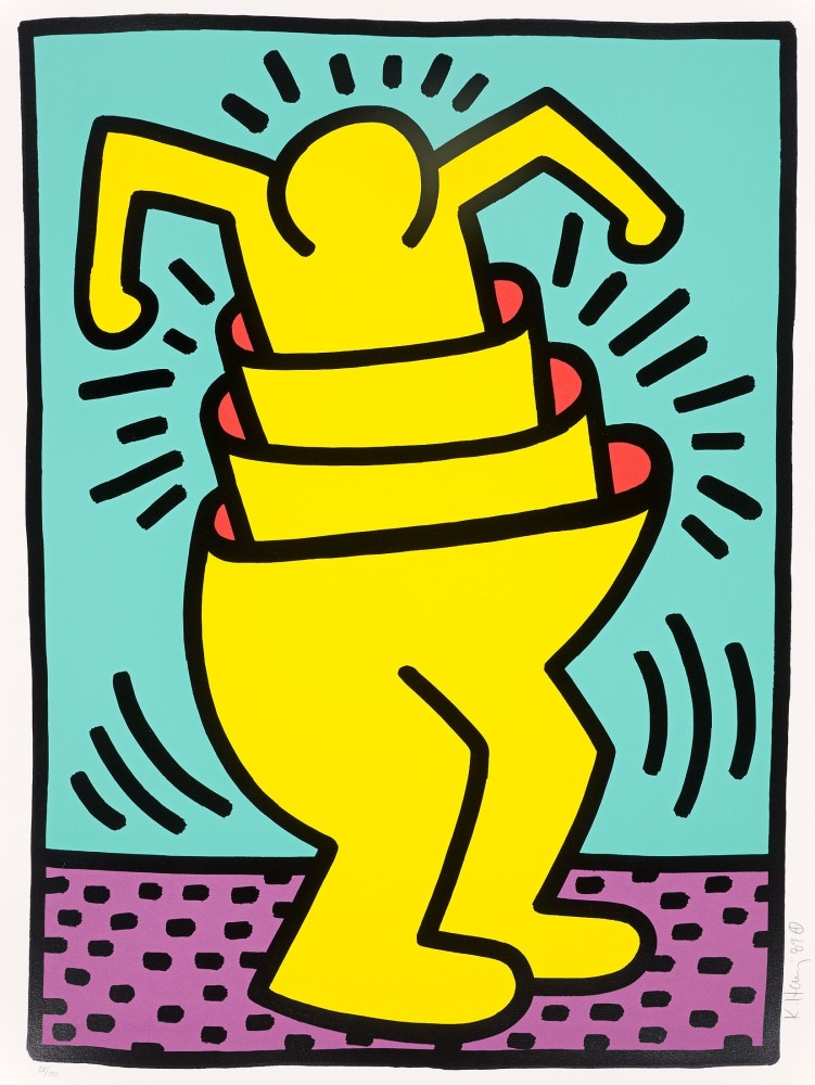 """<span class=""""link fancybox-details-link""""><a href=""""/artists/30-keith-haring/works/771/"""">View Detail Page</a></span><div class=""""artist""""><strong>Keith Haring</strong></div> <div class=""""title""""><em>Untitled (Concentric or Cup Man) </em>, 1989</div> <div class=""""medium"""">Screenprint in colours from the Kinderstern portfolio, hand signed, numbered and dated in pencil with publisher chop mark</div> <div class=""""dimensions"""">76 x 56.8 cm</div> <div class=""""edition_details"""">Edition of 100 plus proofs</div>"""