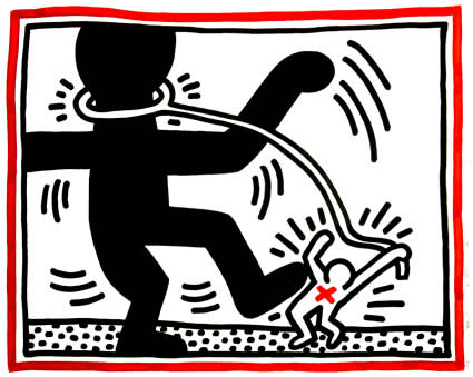 """<span class=""""link fancybox-details-link""""><a href=""""/artists/30-keith-haring/works/1004/"""">View Detail Page</a></span><div class=""""artist""""><strong>Keith Haring</strong></div> <div class=""""title""""><em>Untitled 2, Apartheid Suite, 1985</em>, 1985</div> <div class=""""medium"""">Lithograph on paper, hand signed, dated and numbered from the edition of 60.  Nice clean paper, bright image, classic early Keith Haring work-large size at 81x101.5 cm - great value for a simple, iconic image.</div> <div class=""""dimensions"""">81 x 101.5 cm<br /> 31 7/8 x 40 in</div> <div class=""""edition_details"""">Edition of 60</div>"""