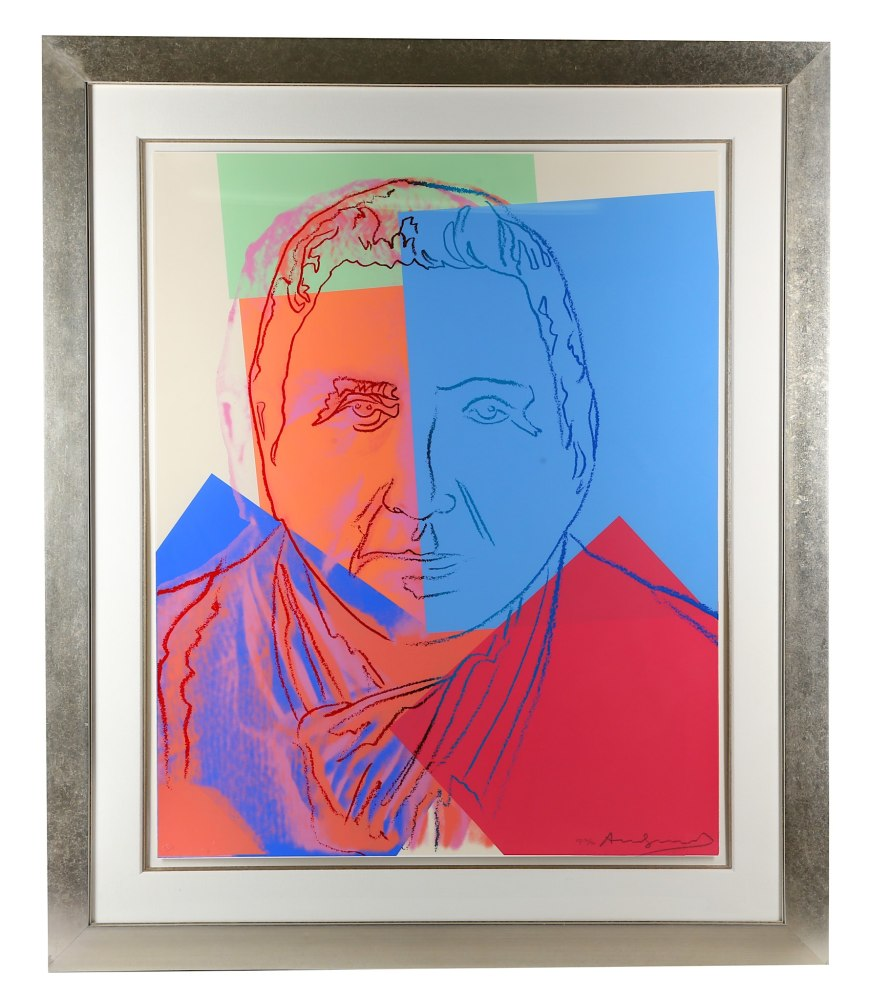 """<span class=""""link fancybox-details-link""""><a href=""""/artists/25-andy-warhol/works/857/"""">View Detail Page</a></span><div class=""""artist""""><strong>Andy Warhol</strong></div> <div class=""""title""""><em>Gertrude Stein (Ten Portraits of Jews of the Twentieth Century) *SOLD*</em>, 1980</div> <div class=""""signed_and_dated"""">From the portfolio of ten screen prints on Lenox Museum Board,<br /> hand signed and numbered in pencil lower right front, an Artists Proof from the edition of 30</div> <div class=""""medium"""">Printed by Rupert Jasen Smith, New York<br /> Published by Ronald Feldman Fine Arts, Inc. New York; Jonathan <br /> A Editions, Tel Aviv, Israel </div> <div class=""""dimensions"""">Paper size is 40x32 inches (101.6 x 81.3 cm), presented in perfect condition, a great buy for a large Warhol portrait </div>"""