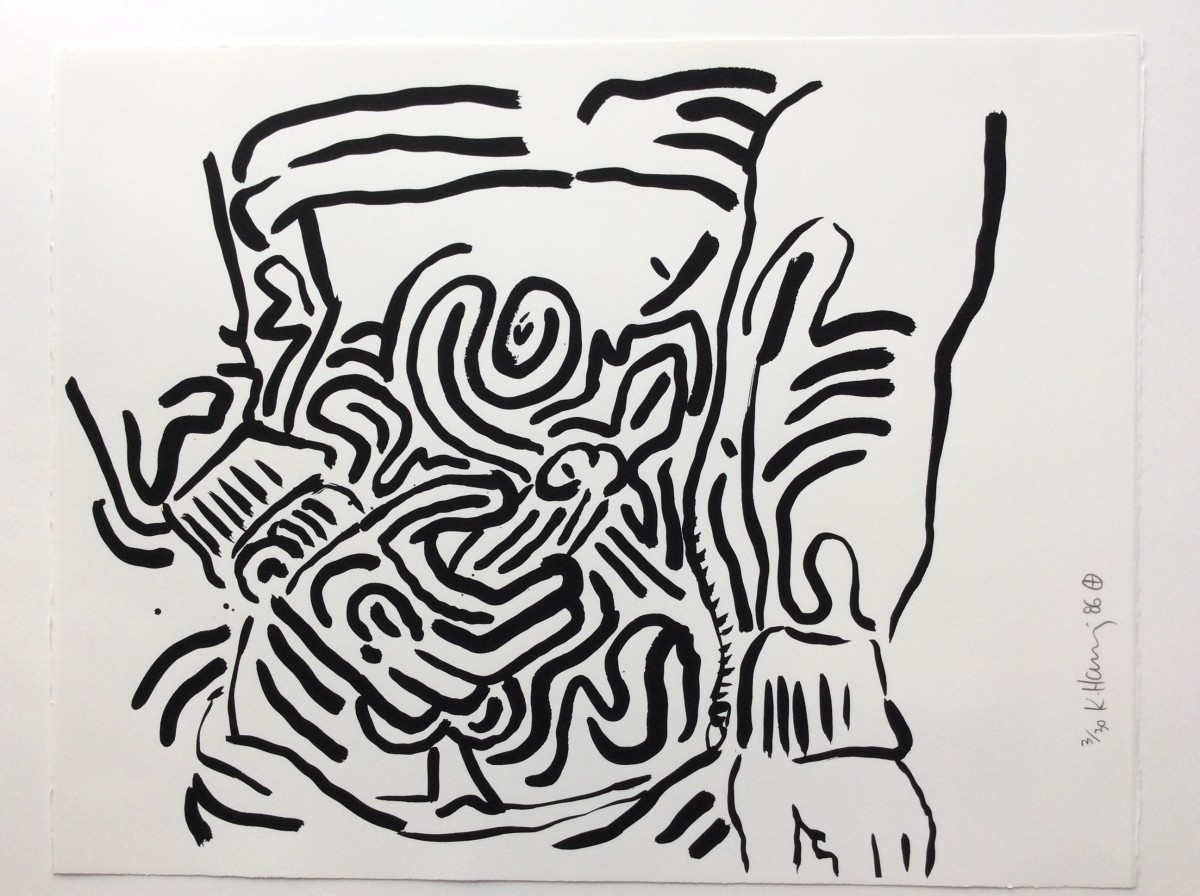 """<span class=""""link fancybox-details-link""""><a href=""""/artists/30-keith-haring/works/1013/"""">View Detail Page</a></span><div class=""""artist""""><strong>Keith Haring</strong></div> <div class=""""title""""><em>BAD BOYS, Number 6, 1986</em>, 1986</div> <div class=""""medium"""">Silkscreen on Rives B.F.K. paper, please see Number 1 or the Blue Cover listing above for more details </div> <div class=""""edition_details"""">Edition of 30</div>"""