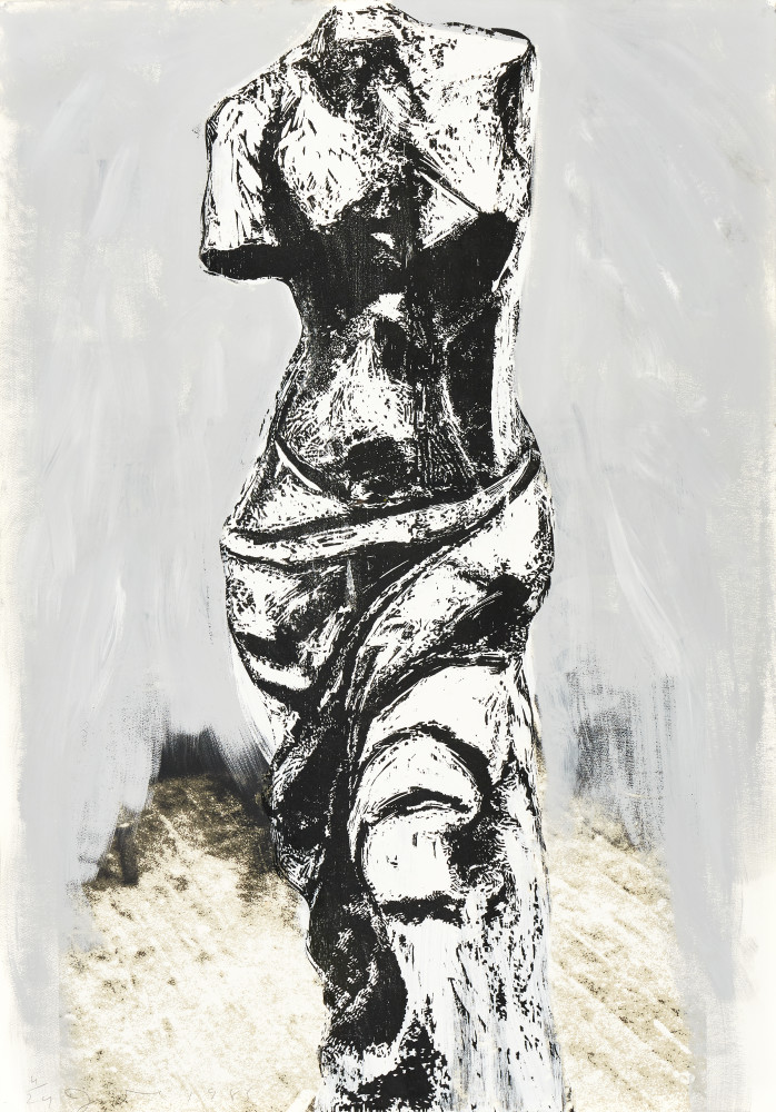 """<span class=""""link fancybox-details-link""""><a href=""""/artists/65-jim-dine/works/806/"""">View Detail Page</a></span><div class=""""artist""""><strong>Jim Dine</strong></div> <div class=""""title""""><em>Nine Views of Winter (IV) *SOLD*</em>, 1985</div> <div class=""""medium"""">Woodcut, screen print and hand painting on paper, signed and numbered in pencil</div> <div class=""""dimensions"""">133cm x 94cm</div> <div class=""""edition_details"""">Edition of 24</div>"""