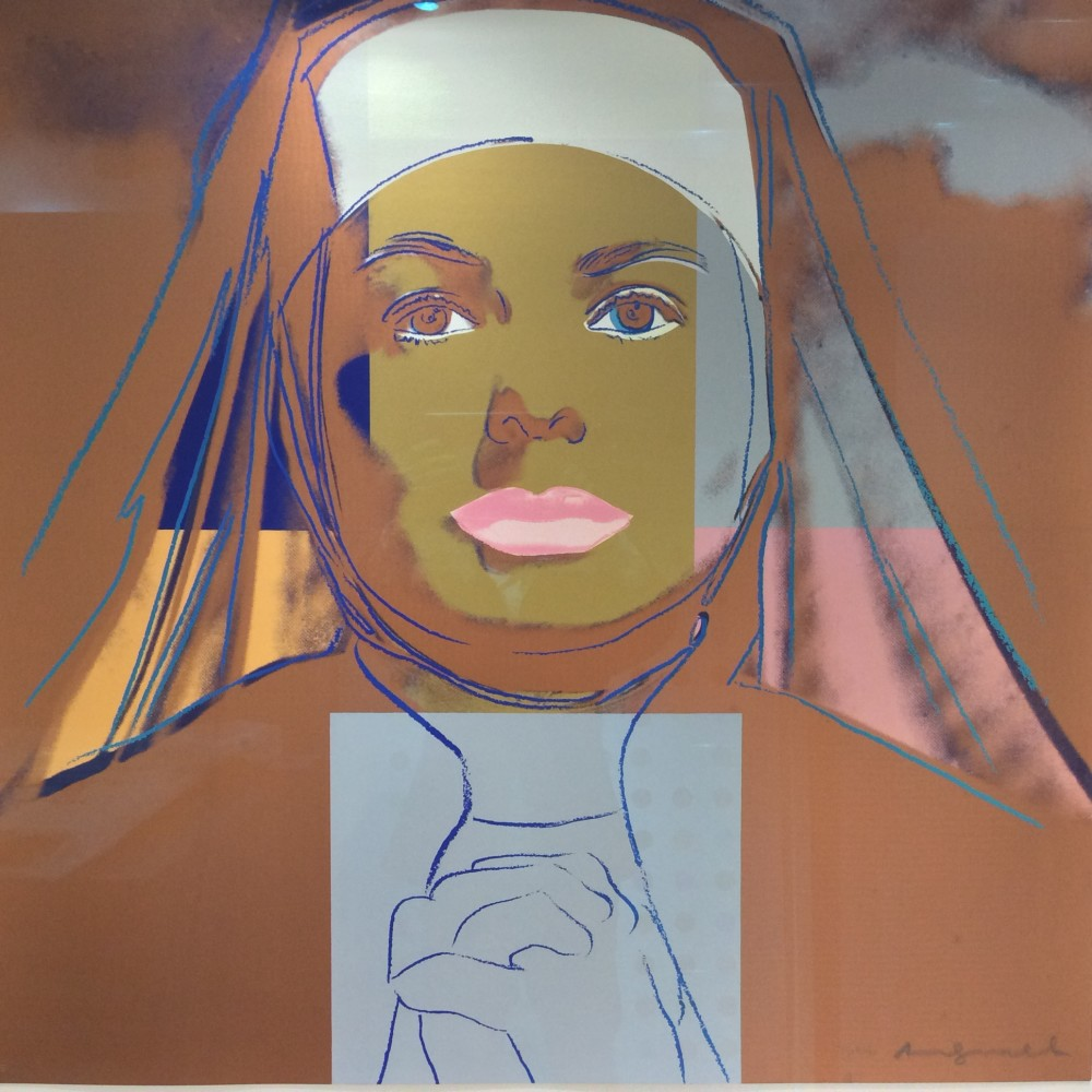 """<span class=""""link fancybox-details-link""""><a href=""""/artists/25-andy-warhol/works/920/"""">View Detail Page</a></span><div class=""""artist""""><strong>Andy Warhol</strong></div> <div class=""""title""""><em>Ingrid Bergman The NUN </em>, 1983</div> <div class=""""signed_and_dated"""">Framed to a museum standard, the work is in perfect condition as-new </div> <div class=""""medium"""">Unique Trial Proof screen print on Lenox Museum Board, hand signed and numbered by the artist in pencil lower right front, <br /> referenced as F&S IIB.314 from the edition of 30 works, each one is unique </div> <div class=""""dimensions"""">96.5 x 96.5 cm<br /> 38 x 38 in</div>"""