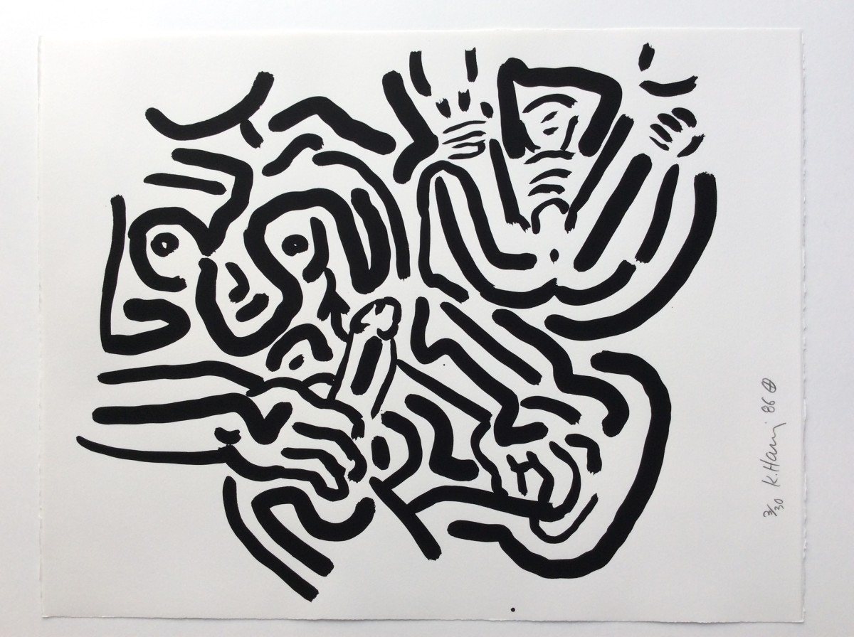 """<span class=""""link fancybox-details-link""""><a href=""""/artists/30-keith-haring/works/1009/"""">View Detail Page</a></span><div class=""""artist""""><strong>Keith Haring</strong></div> <div class=""""title""""><em>Bad Boys, Number 2, 1986</em>, 1986</div> <div class=""""medium"""">Silkscreen - please see the BAD BOYS blue cover or Number 1 for more details.</div> <div class=""""edition_details"""">Edition of 30</div>"""