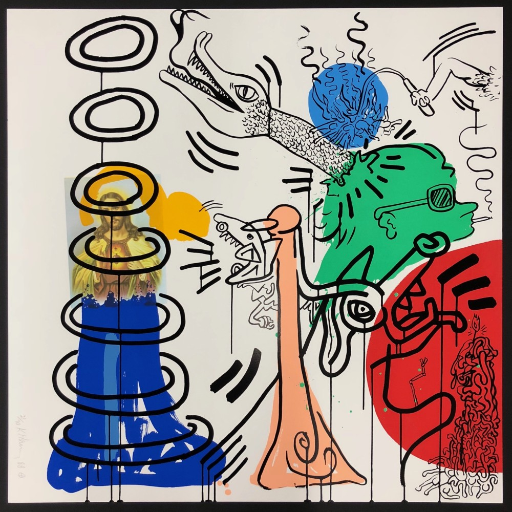 """<span class=""""link fancybox-details-link""""><a href=""""/artists/30-keith-haring/works/865/"""">View Detail Page</a></span><div class=""""artist""""><strong>Keith Haring</strong></div> <div class=""""title""""><em>Apocalypse No 5 *SOLD*</em>, 1988</div> <div class=""""medium"""">Screenprint on wove paper, signed and numbered in pencil </div> <div class=""""dimensions"""">96.5 x 96.5 cm<br /> 38 x 38 in</div> <div class=""""edition_details"""">Edition of 90</div>"""