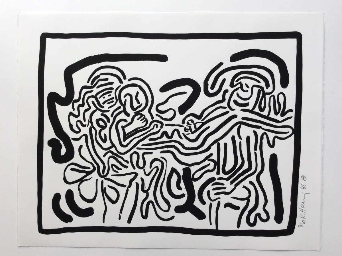 """<span class=""""link fancybox-details-link""""><a href=""""/artists/30-keith-haring/works/1008/"""">View Detail Page</a></span><div class=""""artist""""><strong>Keith Haring</strong></div> <div class=""""title""""><em>Bad Boys, Number 1</em>, 1986</div> <div class=""""signed_and_dated"""">Available only as part of the complete suite but please do contact us on availability of individual prints from the series.</div> <div class=""""medium"""">Silkscreen on Rives B.F.K. paper, hand signed in pencil, dated '86 and numbered from the edition of only 30!  A rare acquisition and a very important suite of works destined to become highly desirable by collectors who want a complete suite and appreciate this series for the complete works of Keith Haring.  If it wasn't important to Keith Haring to do this series, he wouldn't have done it!  Makes sense?</div> <div class=""""dimensions"""">50.5 x 66 cm<br /> 19 7/8 x 26 in</div> <div class=""""edition_details"""">Edition of 30</div>"""