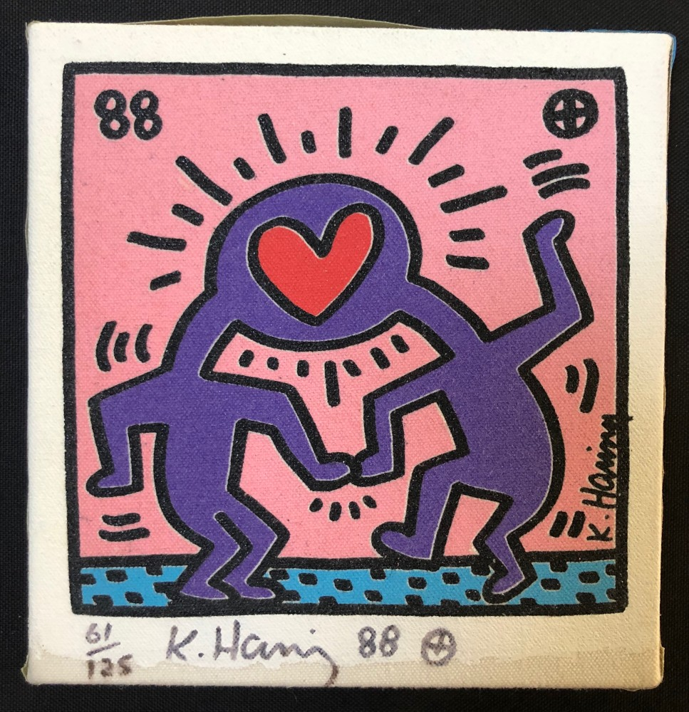 """<span class=""""link fancybox-details-link""""><a href=""""/artists/30-keith-haring/works/1045/"""">View Detail Page</a></span><div class=""""artist""""><strong>Keith Haring</strong></div> <div class=""""title""""><em>Untitled canvas</em>, 1988</div> <div class=""""signed_and_dated"""">This work is offered in excellent condition-the signature is not smudged as you can see and the irregularity at the bottom margin is simply the canvas edge where the paint ended-absolutely normal. Most of these we have seen have smudged and faded signatures this one is excellent!  A great buy for an original <br /> Keith Haring canvas and a must have for any Keith Haring fan!</div> <div class=""""medium"""">Silkscreen on canvas, hand signed, dated and numbered in black marker by the artist from the rare edition of only 125, framed in the original acrylic box from when originally acquired in 1991 with COA, framed size is 13 x 13 inches / 33x33 cm</div> <div class=""""dimensions"""">20.3 x 19.1 cm<br /> 8 x 7 1/2 in</div>"""