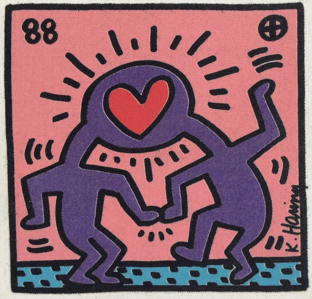 """<span class=""""link fancybox-details-link""""><a href=""""/artists/30-keith-haring/works/996/"""">View Detail Page</a></span><div class=""""artist""""><strong>Keith Haring</strong></div> <div class=""""title""""><em>Untitled, Heart canvas *SOLD*</em>, 1988</div> <div class=""""signed_and_dated"""">Unsigned, stamped on the reverse </div> <div class=""""medium"""">Silkscreen on canvas <br /> Cute little original canvas painting, </div> <div class=""""dimensions"""">20 x 19 cm<br /> 7 7/8 x 7 1/2 in</div>"""