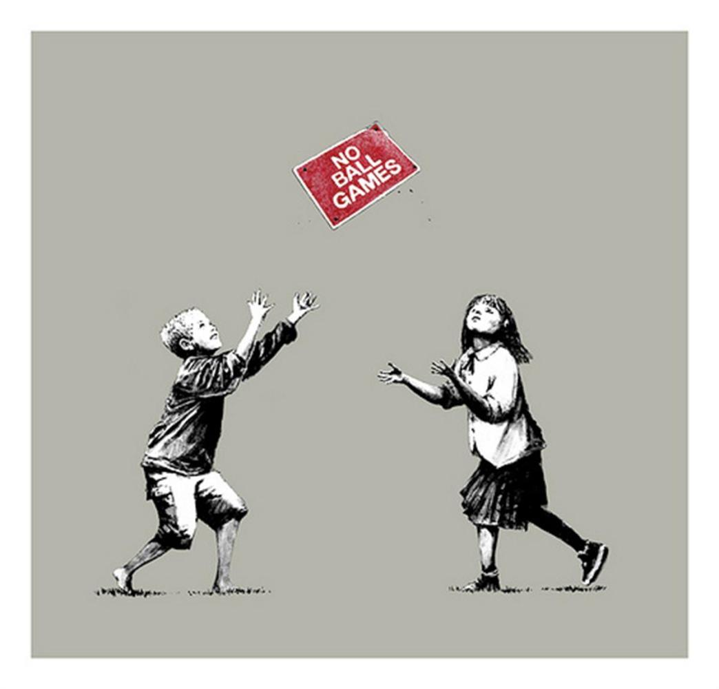 "<span class=""link fancybox-details-link""><a href=""/artists/27-banksy/works/1049/"">View Detail Page</a></span><div class=""artist""><strong>Banksy</strong></div> <div class=""title""><em>No Ball Games (grey)</em>, 2009</div> <div class=""medium"">Screenprint on paper, the edition, all of which were signed, was published a few months after this image appeared on the street in Tottenham, North London<br /> <br /> Signed and numbered in pencil, COA from Pest Control<br /> <br /> Framed, on display and available to view at Joseph Fine Art, LONDON<br /> </div> <div class=""dimensions"">70 x 67 cm<br /> 27 1/2 x 26 3/8 in</div> <div class=""edition_details"">Edition of 250</div>"