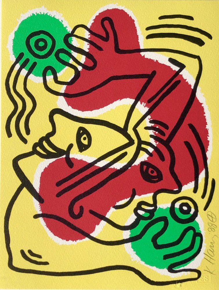 """<span class=""""link fancybox-details-link""""><a href=""""/artists/30-keith-haring/works/894/"""">View Detail Page</a></span><div class=""""artist""""><strong>Keith Haring</strong></div> <div class=""""title""""><em>International Volunteer Day</em>, 1988</div> <div class=""""signed_and_dated"""">Hand signed and dated by Keith Haring in pencil, numbered in pencil by the United Nations  - a great little Keith Haring for the price with fresh bright colours and presented in perfect condition </div> <div class=""""medium"""">Lithograph on Arches rag paper, edition of 1000, referenced as CANTZ p.93</div> <div class=""""dimensions"""">27.9 x 21.6 cm<br /> 11 x 8 1/2 in</div> <div class=""""edition_details"""">Edition of 1000</div>"""