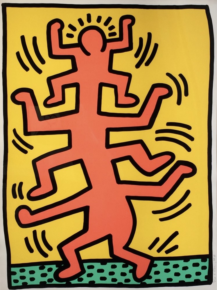 """<span class=""""link fancybox-details-link""""><a href=""""/artists/30-keith-haring/works/656/"""">View Detail Page</a></span><div class=""""artist""""><strong>Keith Haring</strong></div> <div class=""""title""""><em>Growing Suite (No. 1) *SOLD*</em>, 1988</div> <div class=""""signed_and_dated"""">Signed and dated in pencil</div> <div class=""""medium"""">Screen print on paper</div> <div class=""""dimensions"""">101.6 x 76.2 cm (40 x 30 in)</div> <div class=""""edition_details"""">Numbered in pencil from the edition of 100</div>"""