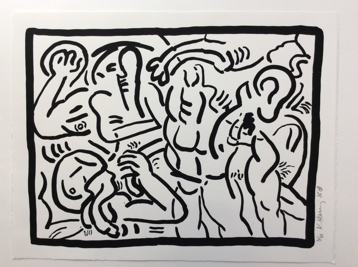 """<span class=""""link fancybox-details-link""""><a href=""""/artists/30-keith-haring/works/1011/"""">View Detail Page</a></span><div class=""""artist""""><strong>Keith Haring</strong></div> <div class=""""title""""><em>BAD BOYS, number 4, 1986</em>, 1986</div> <div class=""""signed_and_dated"""">I think this series of six works can be described as being very similar to the Picasso 347 Series.  Graphic indeed but to see all six on a wall in the gallery is overpowering - makes a big impact -and you really appreciate them.  Check out the Picasso then look back at this suite and you may have the same thought...</div> <div class=""""medium"""">Silkscreen on Rives B.F.K. paper, please see Number 1 for more details...</div> <div class=""""edition_details"""">Edition of 30</div>"""