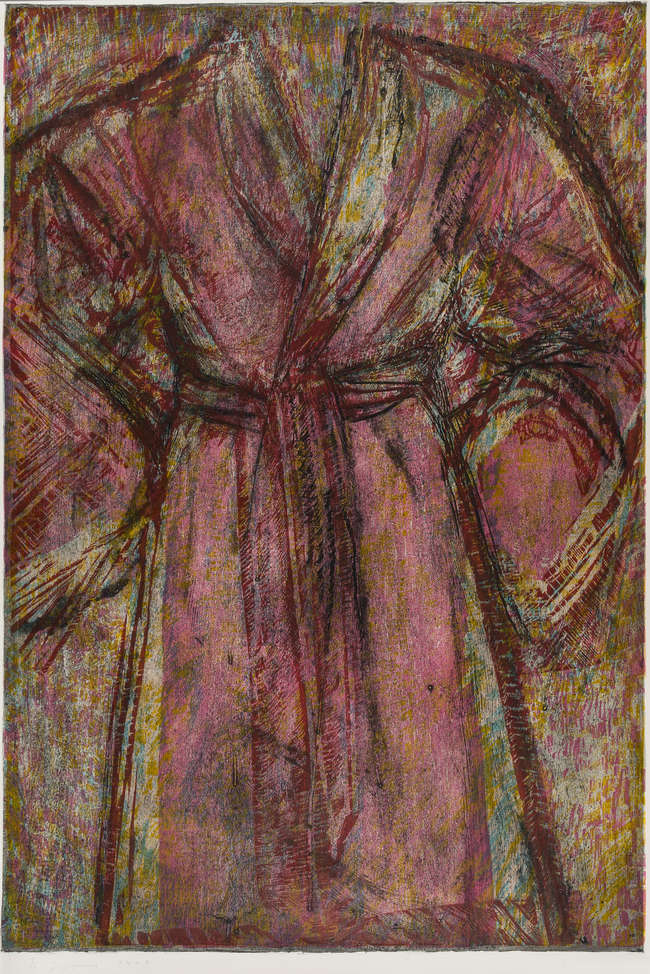 """<span class=""""link fancybox-details-link""""><a href=""""/artists/65-jim-dine/works/784/"""">View Detail Page</a></span><div class=""""artist""""><strong>Jim Dine</strong></div> <div class=""""title""""><em>Rosy Robe</em>, 1998</div> <div class=""""medium"""">Woodcut and cardboard intaglio on Arches paper, signed and numbered.</div> <div class=""""dimensions"""">160.1cm x 100.7cm</div> <div class=""""edition_details"""">Edition of 13</div>"""