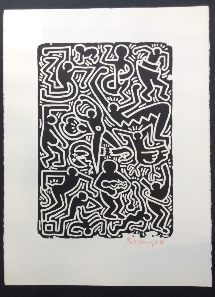 """<span class=""""link fancybox-details-link""""><a href=""""/artists/30-keith-haring/works/988/"""">View Detail Page</a></span><div class=""""artist""""><strong>Keith Haring</strong></div> <div class=""""title""""><em>Stones No. 5 *SOLD*</em>, 1989</div> <div class=""""signed_and_dated"""">Lithograph on paper, signed, numbered and dated in red crayon.<br /> <br /> </div> <div class=""""medium"""">Wonderful, new condition with a bright red crayon signature, this work is a lotta fun for the money and contains quite a bit of imagery to enjoy in your home. </div> <div class=""""dimensions"""">76.2 x 55.9 cm<br /> 30 x 22 in</div> <div class=""""edition_details"""">Edition of 60</div>"""