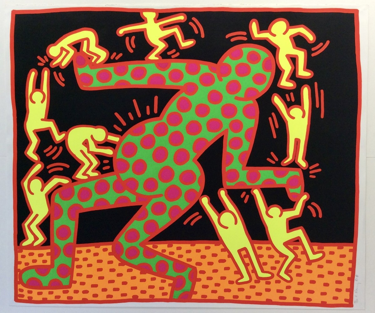"""<span class=""""link fancybox-details-link""""><a href=""""/artists/30-keith-haring/works/799/"""">View Detail Page</a></span><div class=""""artist""""><strong>Keith Haring</strong></div> <div class=""""title""""><em>Fertility No. 3  *SOLD*</em>, 1983</div> <div class=""""signed_and_dated"""">Silk screen on paper, hand signed, numbered and dated in pencil by the artist, the work is in perfect condition <br /> <br /> Framed, on display and available to view at Joseph Fine Art, LONDON</div> <div class=""""medium"""">Perfect in every way, bright colours, and early classic Keith Haring work that is absolutely stunning and rare. The colours are actually day-glo flourescent and don't reproduce well so we've included an image of the works in a museum show - that is the vibrancy you will see when viewing the works in person in the gallery.</div> <div class=""""dimensions"""">Paper size is 106 x 127 cm (42x50 inches)</div> <div class=""""edition_details"""">Edition of 100</div>"""