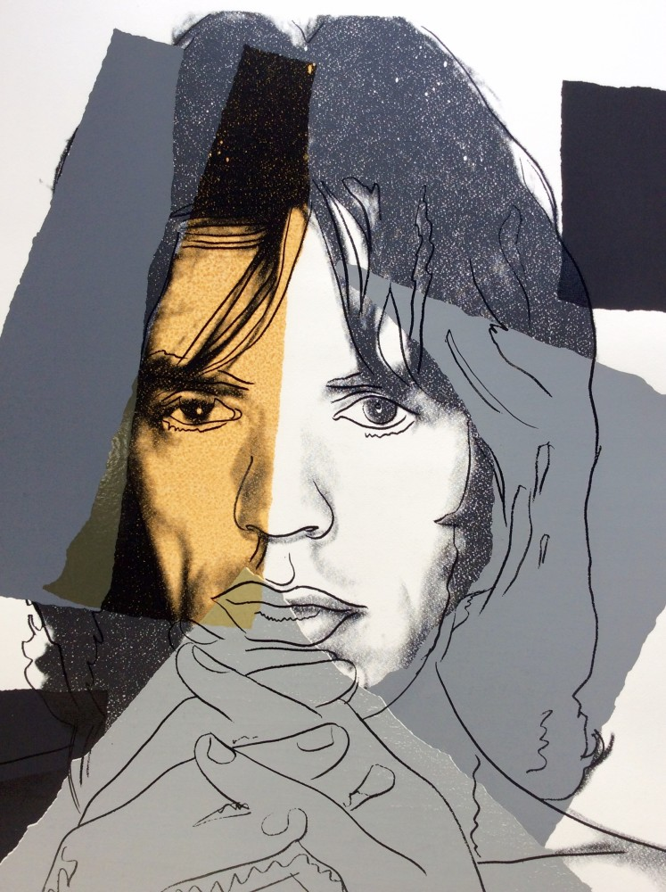 """<span class=""""link fancybox-details-link""""><a href=""""/artists/25-andy-warhol/works/733/"""">View Detail Page</a></span><div class=""""artist""""><strong>Andy Warhol</strong></div> <div class=""""title""""><em>Mick Jagger *SOLD*</em>, 1975</div> <div class=""""signed_and_dated"""">Stamped verso with the copyright stamp """"Seabird Editions' with the number 4 written in pencil, most likely a printers proof of which only three are documented to exist, referenced F&S II.147</div> <div class=""""medium"""">Screen print on Arches Aquarelle (Rough) paper, in fantastic condition, fresh bright colours and pristine condition, the work amazingly has never been framed or mounted </div> <div class=""""dimensions"""">110.5 x 73.7 cm<br /> 43 1/2 x 29 1/8 in</div>"""