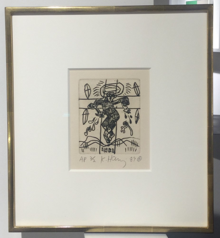 """<span class=""""link fancybox-details-link""""><a href=""""/artists/30-keith-haring/works/811/"""">View Detail Page</a></span><div class=""""artist""""><strong>Keith Haring</strong></div> <div class=""""title""""><em>Untitled  *SOLD*</em>, 1989</div> <div class=""""signed_and_dated"""">Hand signed, numbered and dated in pencil by the artist, stamped verso Keith Haring 1989, George Mulder Fine Arts</div> <div class=""""medium"""">Etching on paper, publisher and artist stamps on the reverse, referenced in Cantz 112</div> <div class=""""dimensions"""">32.7 x 29.2 cm<br /> 12 7/8 x 11 1/2 in</div> <div class=""""edition_details"""">Edition of 6 plus 2 A/P's (this example is an A/P)</div>"""