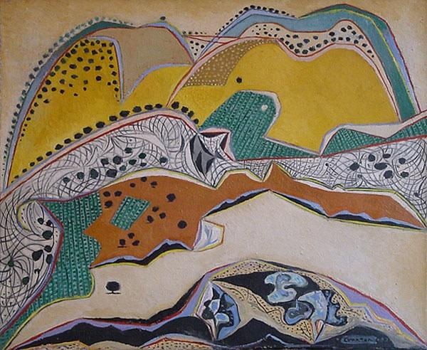"<span class=""title"">Landscape, Malevesi, Crete<span class=""title_comma"">, </span></span><span class=""year"">1952</span>"