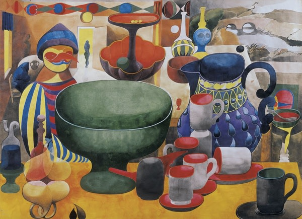 "<span class=""title"">Birdman and Pots in a Landscape<span class=""title_comma"">, </span></span><span class=""year"">c.1947</span>"