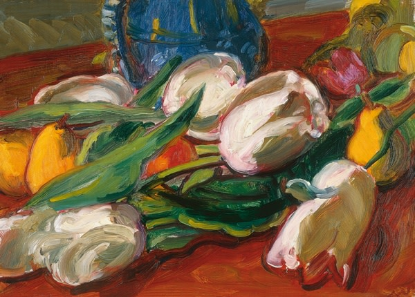 "<span class=""title"">Tulips & Fruit<span class=""title_comma"">, </span></span><span class=""year"">c.1935</span>"