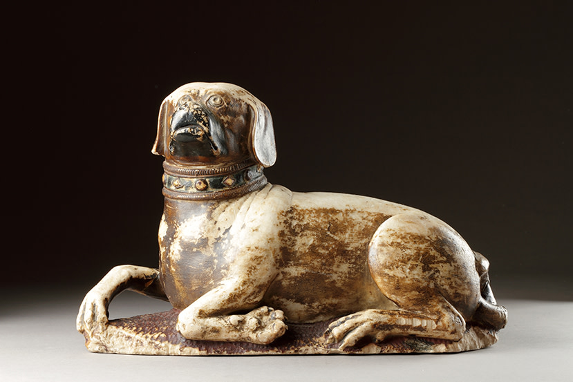 "<span class=""title"">Medieval English Alabaster Tomb Sculpture of a Pug Couchant<span class=""title_comma"">, </span></span><span class=""year"">c.14th century</span>"