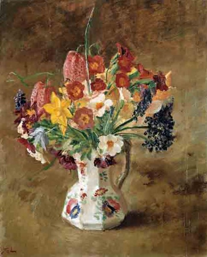 "<span class=""title"">Spring Flowers in a Staffordshire Jug<span class=""title_comma"">, </span></span><span class=""year"">c.1925</span>"