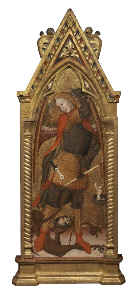 <span class=&#34;link fancybox-details-link&#34;><a href=&#34;/artworks/213/&#34;>View Detail Page</a></span><div class=&#34;artist&#34;><strong>Andrea da Bologna</strong></div> <div class=&#34;title&#34;><em>Saint Michael, the Archangel</em></div> <div class=&#34;medium&#34;>Tempera and gold on panel</div> <div class=&#34;dimensions&#34;>115 x 48 cm<br />45 1/4 x 18 7/8 in</div>