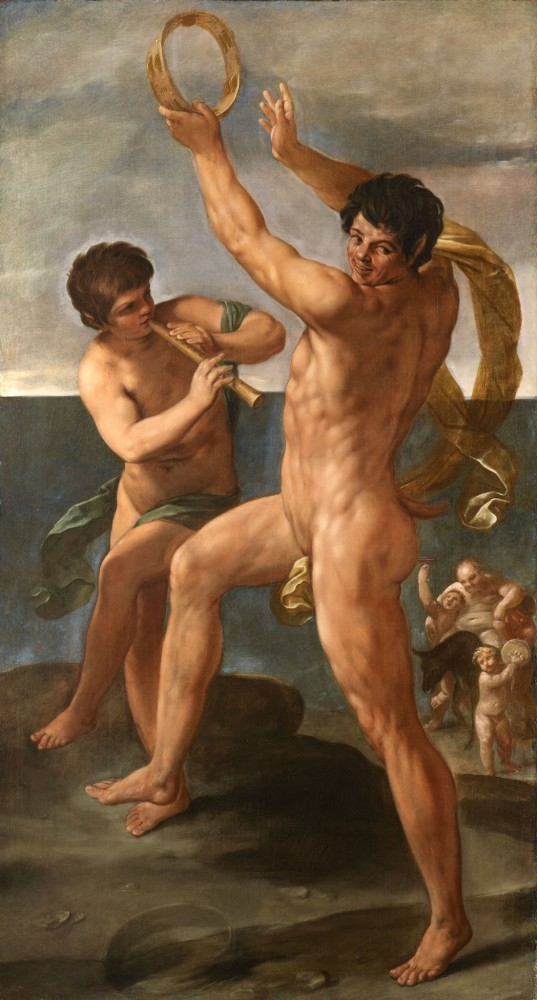 <span class=&#34;link fancybox-details-link&#34;><a href=&#34;/artworks/206/&#34;>View Detail Page</a></span><div class=&#34;artist&#34;><strong>Guido Reni</strong></div> Bologna, 1575-1642 <div class=&#34;title&#34;><em>Two figures in a Bacchic Dance</em></div> <div class=&#34;medium&#34;>Oil on canvas</div> <div class=&#34;dimensions&#34;>100 1/8 x 56 3/4 inches<br />254.3 x 144.1 cm</div>