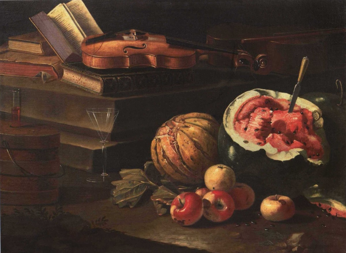 <span class=&#34;link fancybox-details-link&#34;><a href=&#34;/artworks/628/&#34;>View Detail Page</a></span><div class=&#34;artist&#34;><strong>Cristoforo Munari</strong></div> Reggio Emilia, 1667 - Pisa, 1720 <div class=&#34;title&#34;><em>Books, Violin, Fruit</em></div> <div class=&#34;medium&#34;>Oil on canvas</div> <div class=&#34;dimensions&#34;>113 x 86 cm<br />44 1/2 x 33 7/8 in</div>